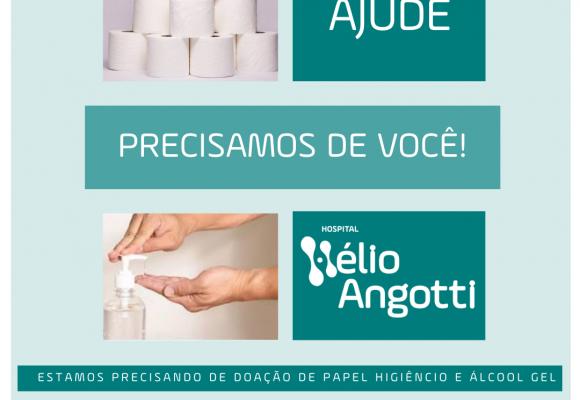 HÉLIO ANGOTTI PEDE DOAÇÃO DE ÁLCOOL GEL E E PAPEL HIGIÊNICO