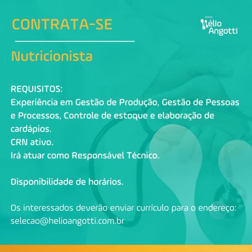 OPORTUNIDADE DE EMPREGO: NUTRICIONISTA